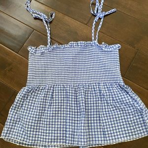 H&M Gingham Summer Smocked Top